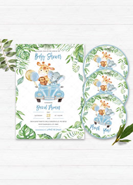Drive By Baby Shower Invitation Jungle