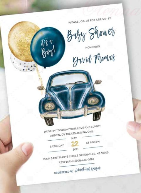 Drive By Baby Shower Invitation boy