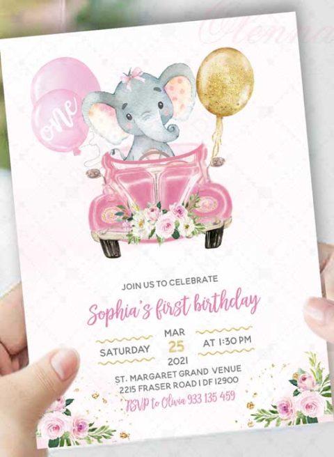 Elephant First Birthday Invitation Girl