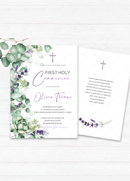 First Communion Invitation Lavender Template