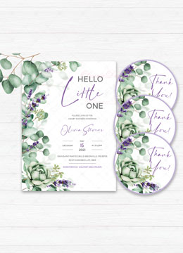 Hello Little One Greenery Baby Shower Invitation