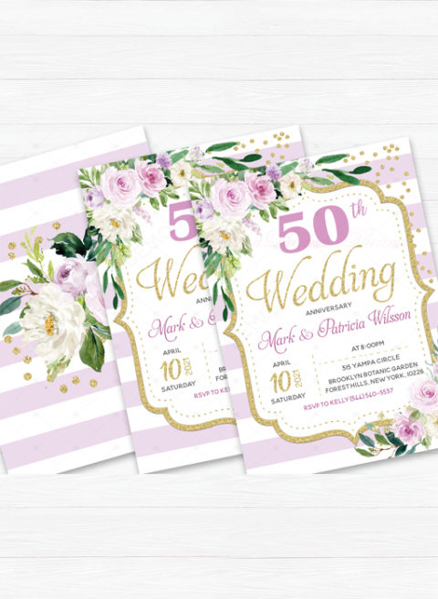 Lavender Gold 50th wedding anniversary invitations with rsvp cards