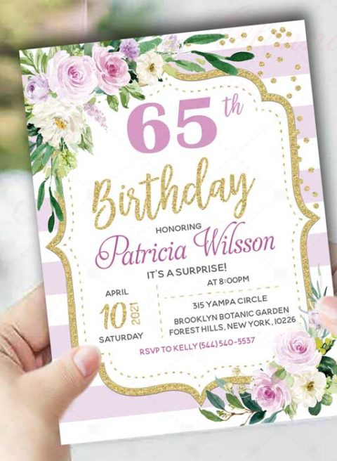 Lilac Golg 65th Surprise Birthday Invitations