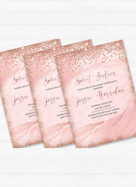 Rose Gold Sweet 16 Invitation
