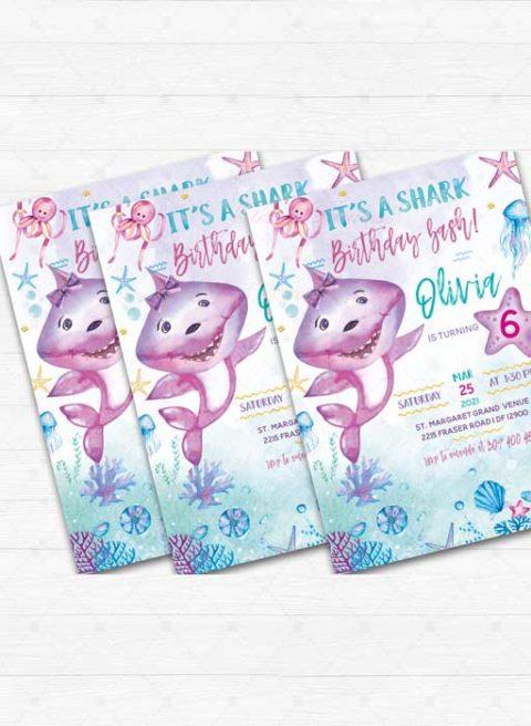 Baby Shark Birthday Girl Invitation