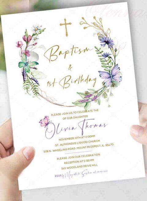 Baptism and 1st Birthday Invitation Card