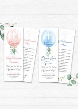 First Communion Prayer Cards Girl- Boy