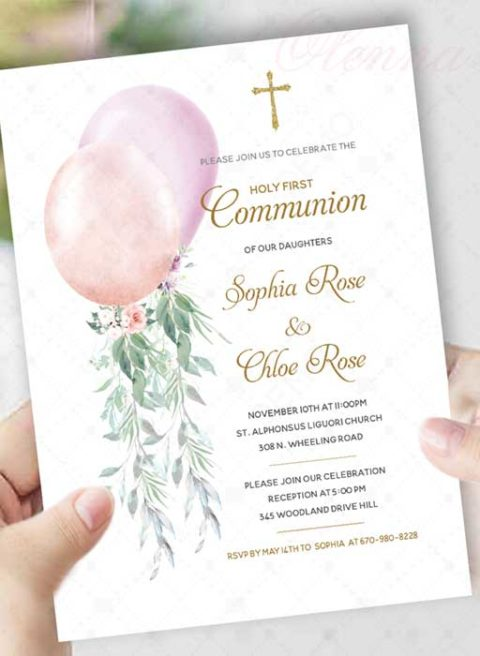 Girl Twins First Holy Communion