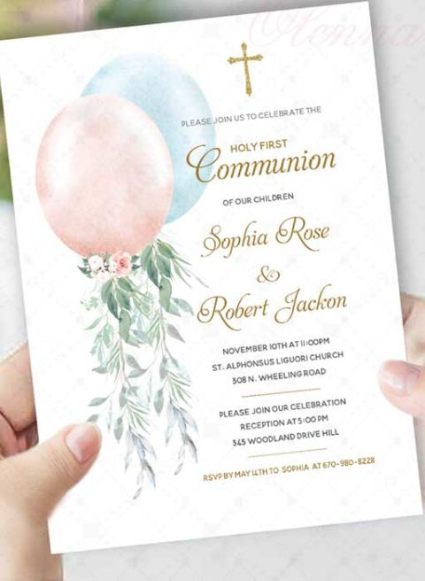 Personalized First Communion Invitations Twins