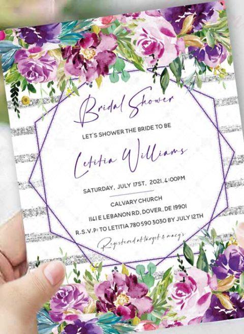 Purple And Silver Bridal Shower Invitations