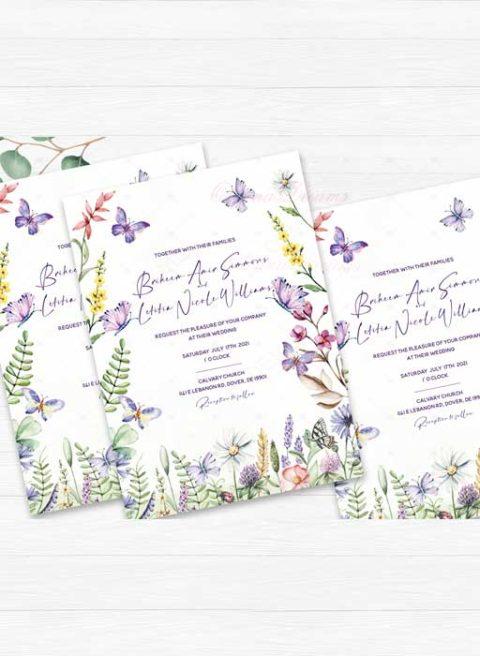 Purple Butterfly Wedding Invitation Kits