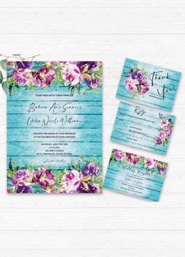 Purple and Turquoise Wedding Invite