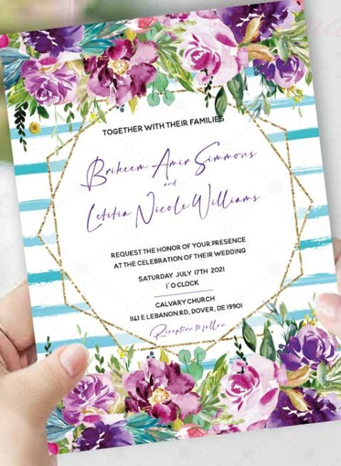 Purple and Turquoise Wedding Template Kits