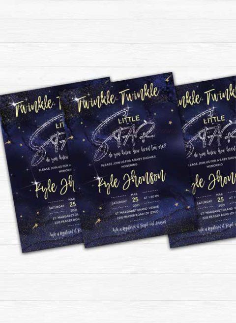 Twinkle Twinkle Baby Shower Star Invitation