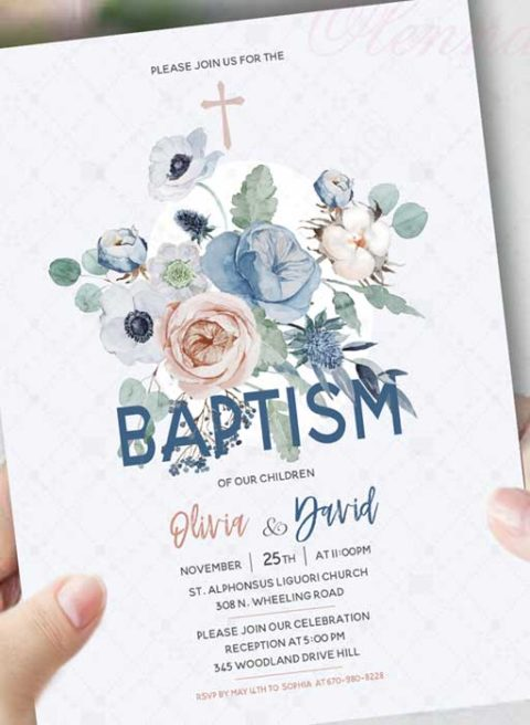 Baptism Invitations For Twins
