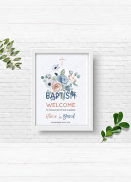 Baptism Twins Welcome Sign