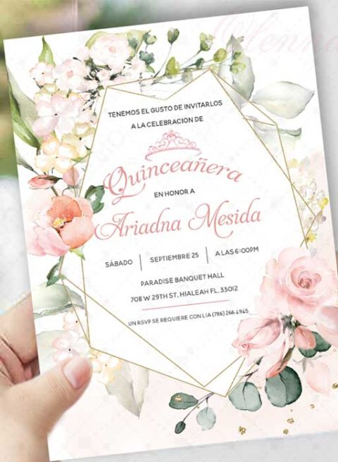 Blush Pink Quinceañera Invitation Template