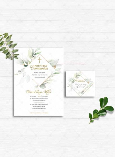 Printable First Holy Communion Invitation Girl