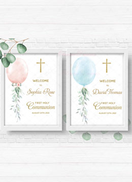 First holy communion welcome sign girl