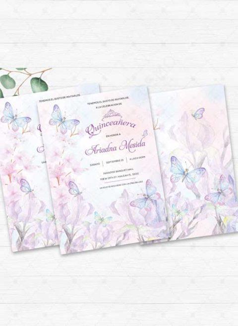 Morada Quinceañera Invitation Template