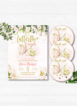 Pink Gold Baby Shower Butterfly Invitations Girl