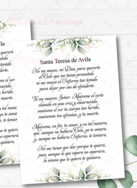 Print of St Teresa of Avila in Spanish