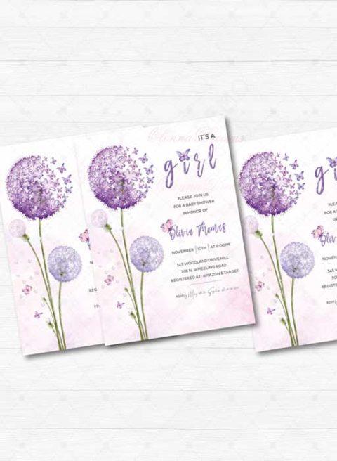 Purple Butterfly Baby Shower Invitation