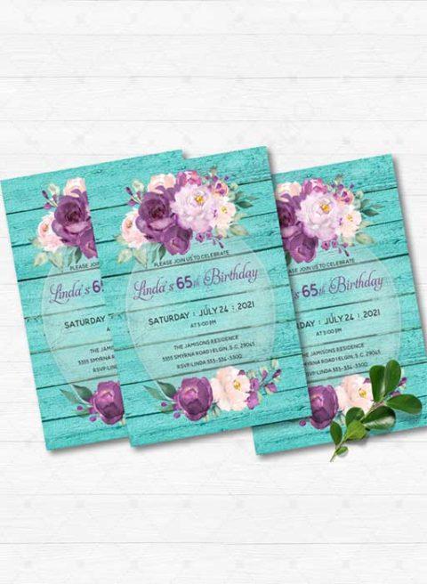 Purple and Turquoise 65th Birthday Invitation