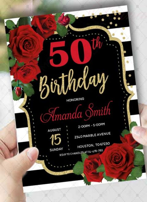 Red White and Black Invitations