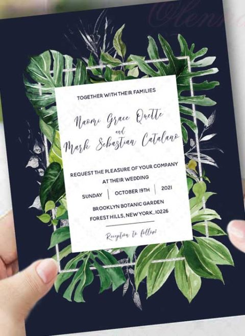 Royal Blue and Silver Wedding Invitations templates