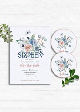Sweet 16 Blue Invitations