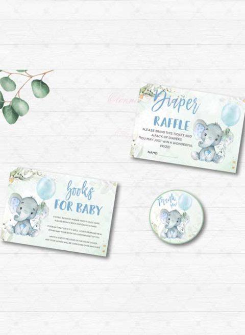 Elephant Baby Shower Boy Invitations