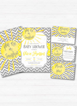 You Are My Sunshine Baby Shower Invitations