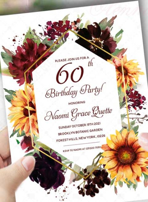 60th Birthday burgundy sunflower invitation