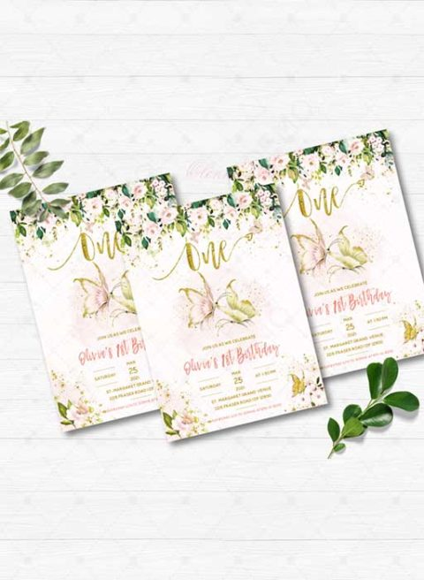 Butterfly 1st birthday invitation