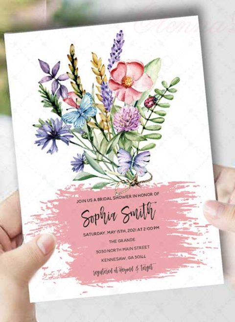 Butterfly Floral Bridal Shower Invitation