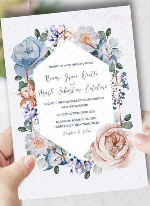 Dusty blue and blush wedding invitation