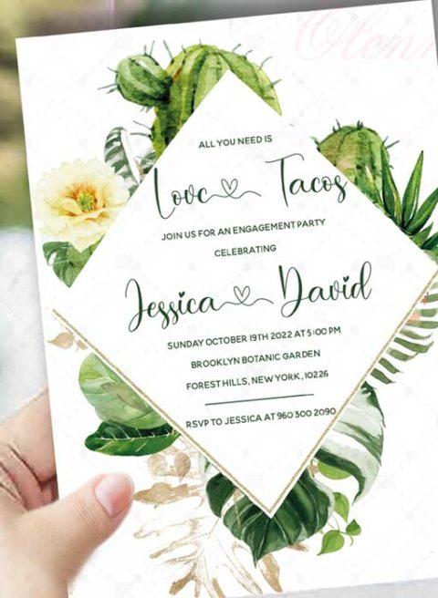 Fiesta Cactus Couples Shower Invitation