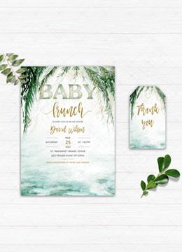 Greenery Baby Brunch Invitation Template