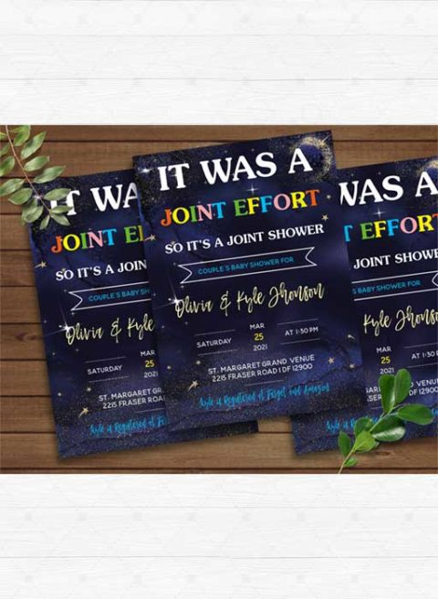 Its Was A Joint Effort Baby Shower Invitation