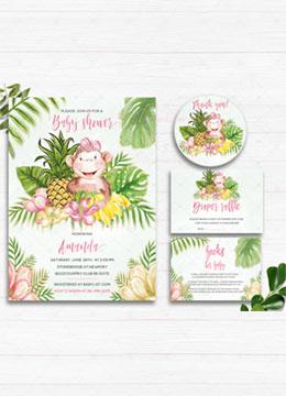 Monkey Baby Shower Invitation Set