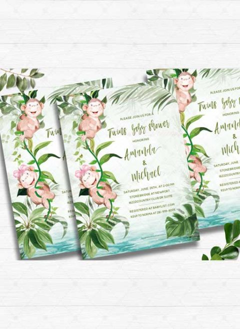Monkey baby shower invitations for twins boy and girl