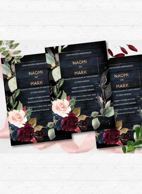Navy Blue Burgundy and gold wedding invitations