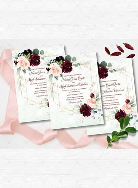 Navy Burgundy and Gold Wedding Invitations Set