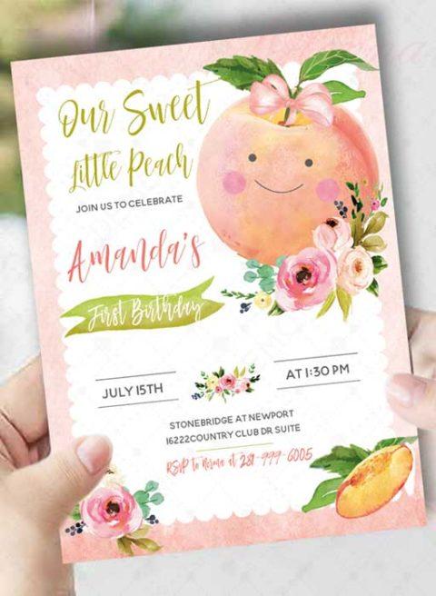Peach First Birthday Invitation