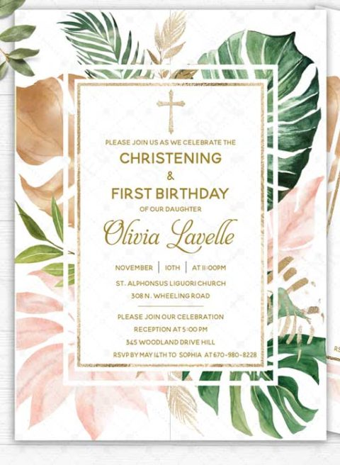 Personalised Joint Christening & First Birthday Invitation