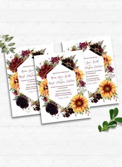 Rustic Sunflower Burgundy Wedding Invitation
