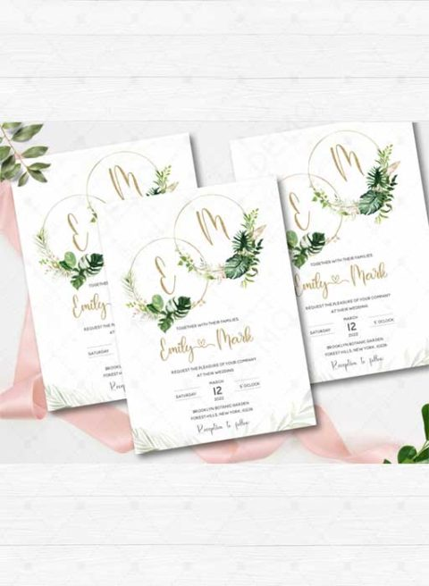 Tropical Gold Wedding Invitation Set