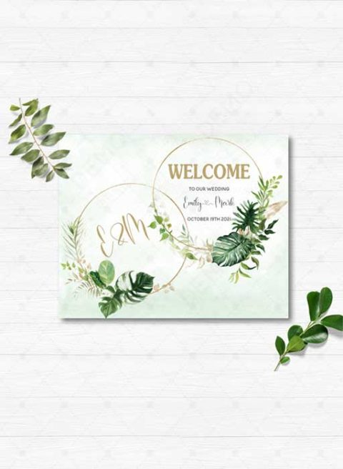 Tropical Gold Welcome Sign Template