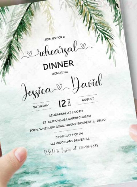 Tropical Rehearsal Dinner Invitation